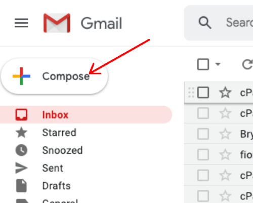Screenshot of Gmail compose button with arrow