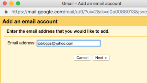 Screenshot of where to add email address in Gmail add accounts