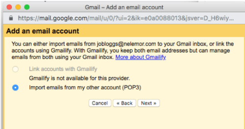 Screenshot of Gmailify not available in Gmail add account