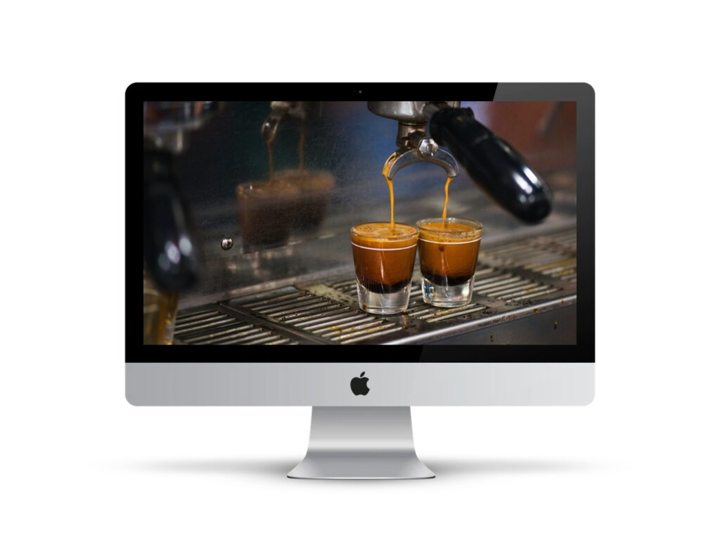 Double espresso being made, on desktop