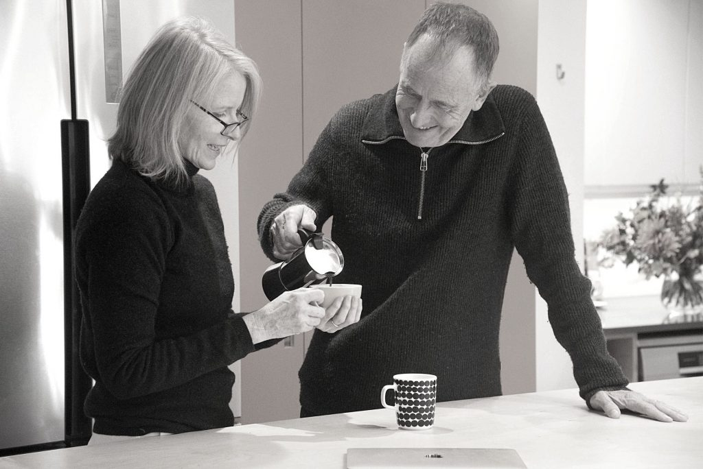 Penny and Fred with coffee
