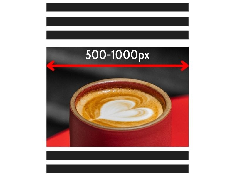 Correct size for in-page website image - 500-1000px