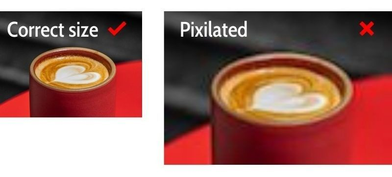 Pixilated website image of red coffee cup